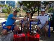 Marco Sonia and Procedural Phil in Bali opp hotel on Beach